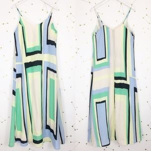 Anthro • Abstracted Maxi Dress Geometric Green M